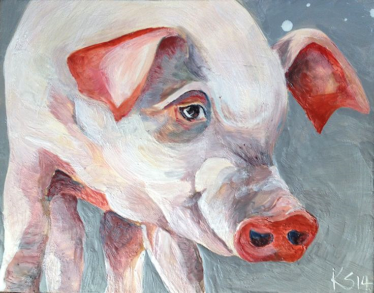 """Pinky"" 14"" x 11"" SOLD"