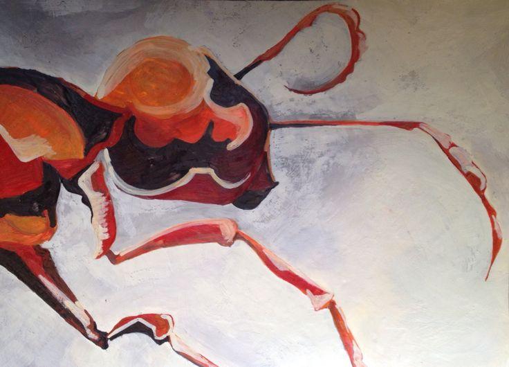 """Red Ant"" Encaustic"