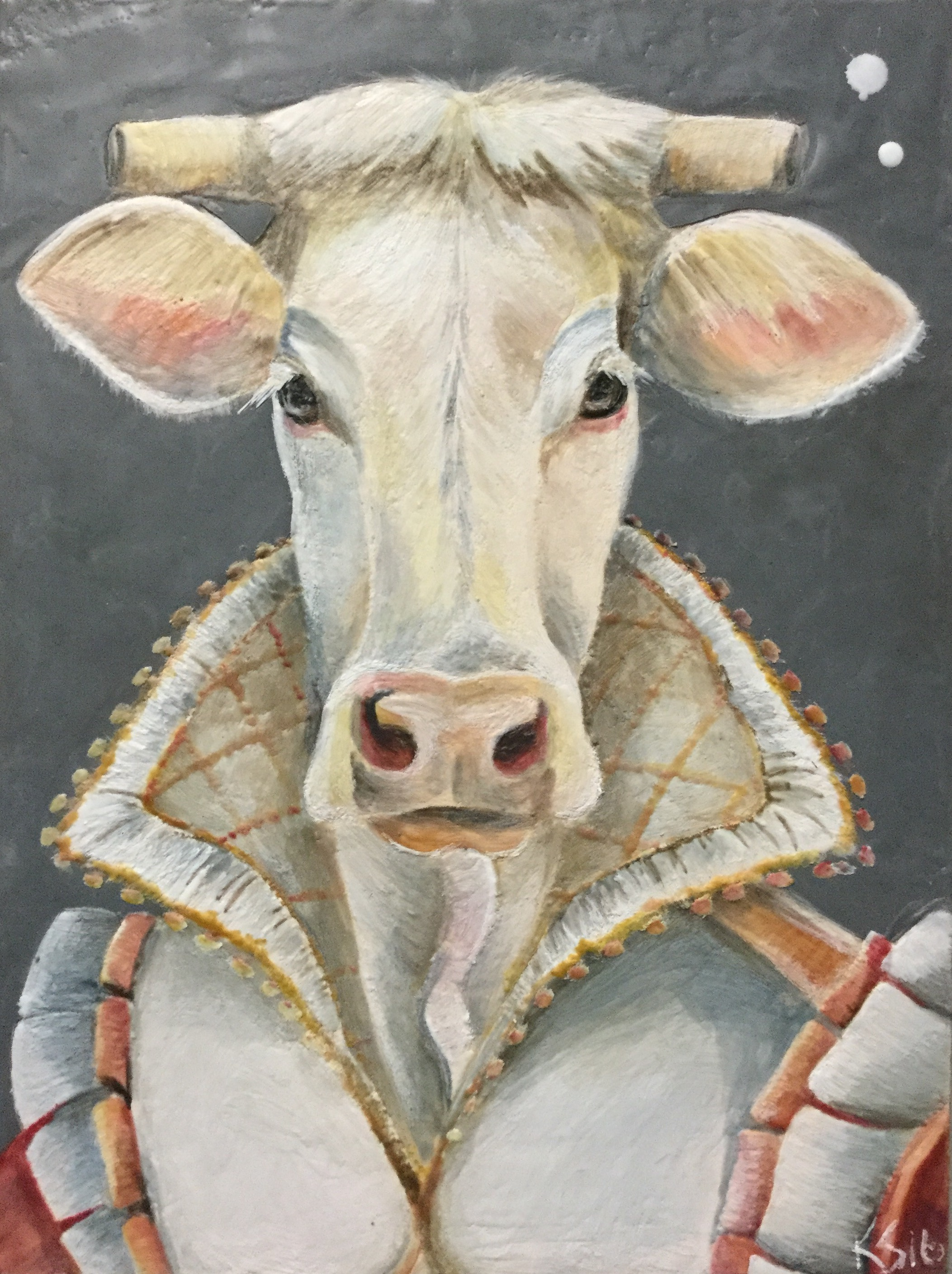 "Baroness of Bovine 2016 12""x 16"" Encaustic on Panel"