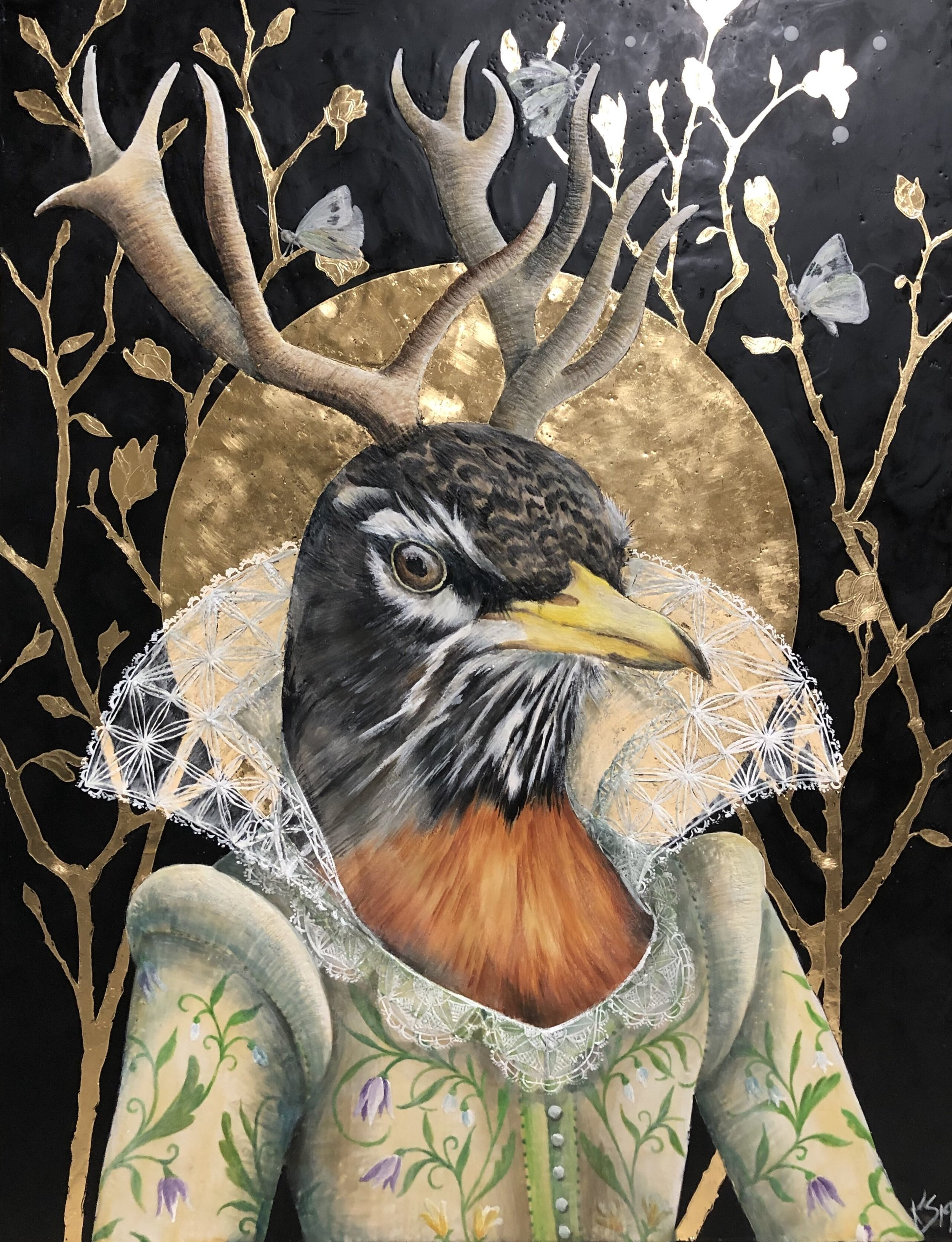 "Vernalis 2019 Available..30""x 39"" Encaustic & Gold Leaf on panel."