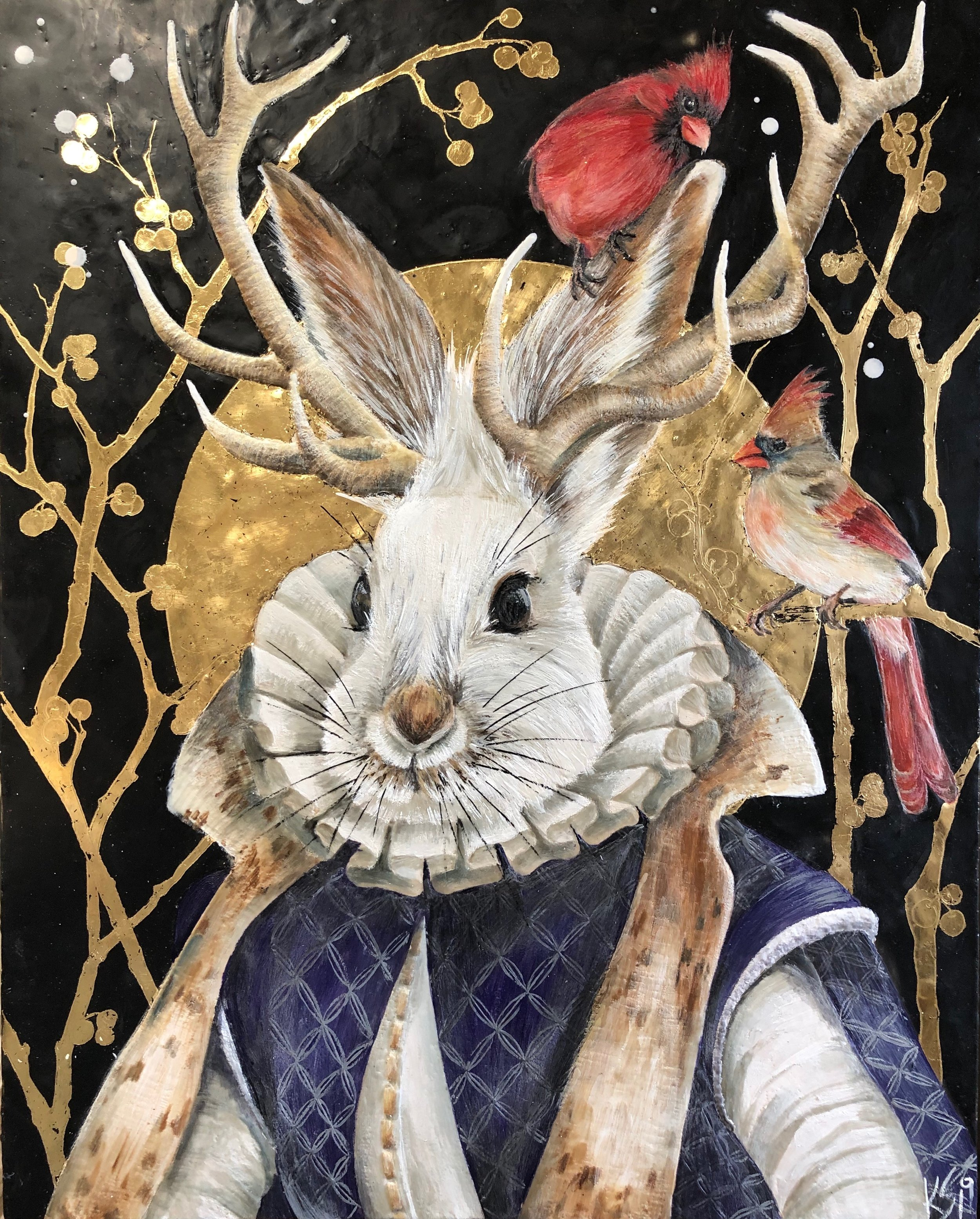 """First Date"" 2019 24x30 Encaustic & Gold leaf on panel"
