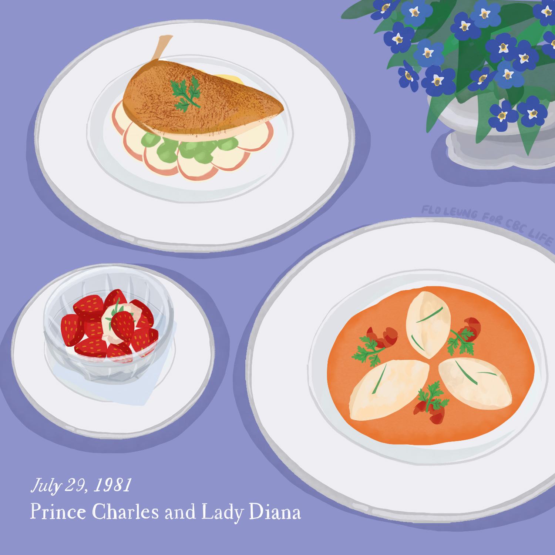 Back: Suprême de Volaille Princesse de Galles; Front, L to R: Fraises & Crème Caillée, Quenelles de Barbue Cardinal