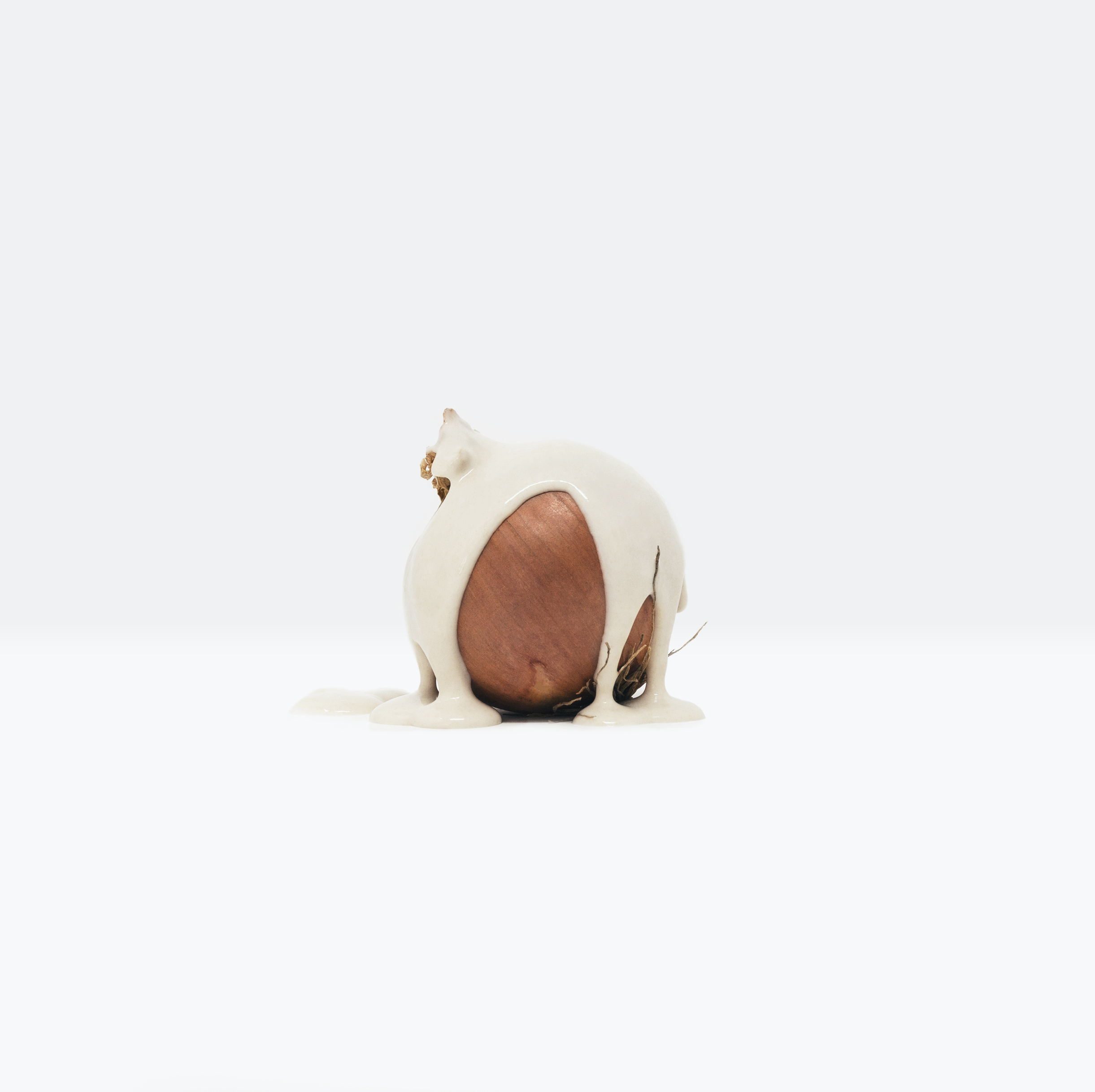 Minimalist, still life photograph of an onion covered in a paint-like substance highlighting the value of food, evoking the crucial reflection of the Global Food Crisis