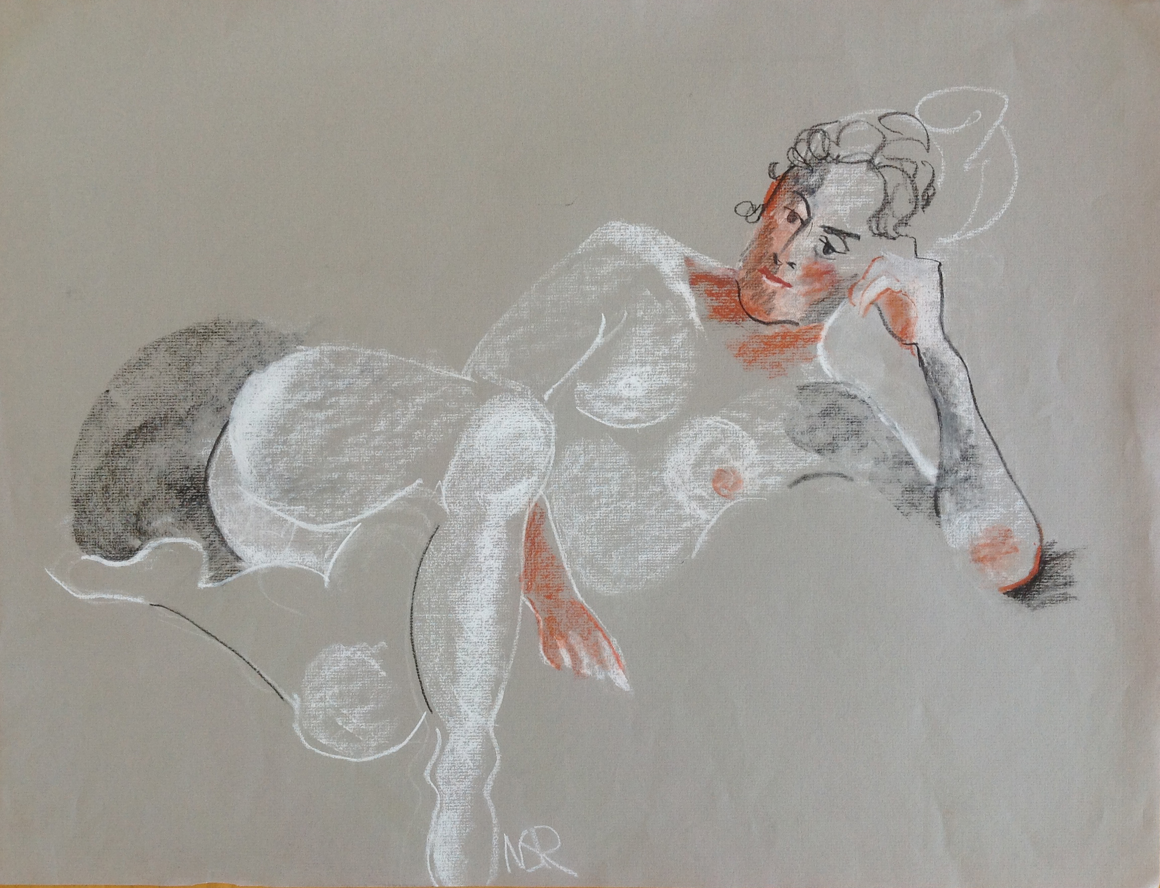 Jeanne on Grey - 18 x 24 colored conté (1995)