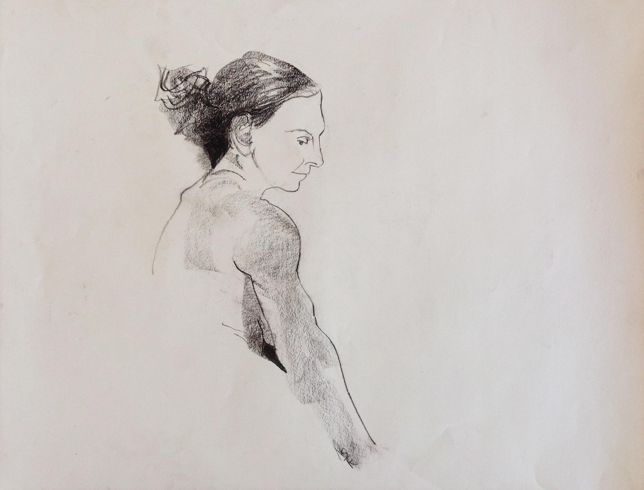 The Muse (Sarah) - 18 x 24 - conté (2014)
