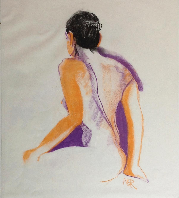 Sarah's Back - 18 x 24 conté - Collection of Abraham Reybold