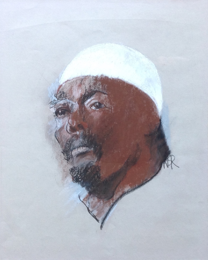 Man in a White Hat - Conté - 10.5 x 13 - Collection of Nathan Reybold