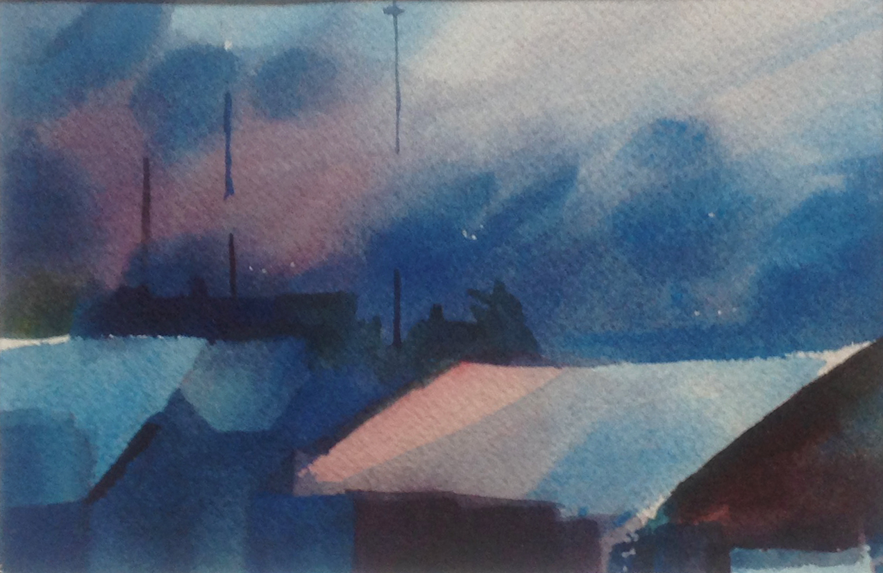 Twilight on Roofs - 4.5 x 6.5 - Collection of Will and Julie Reybold