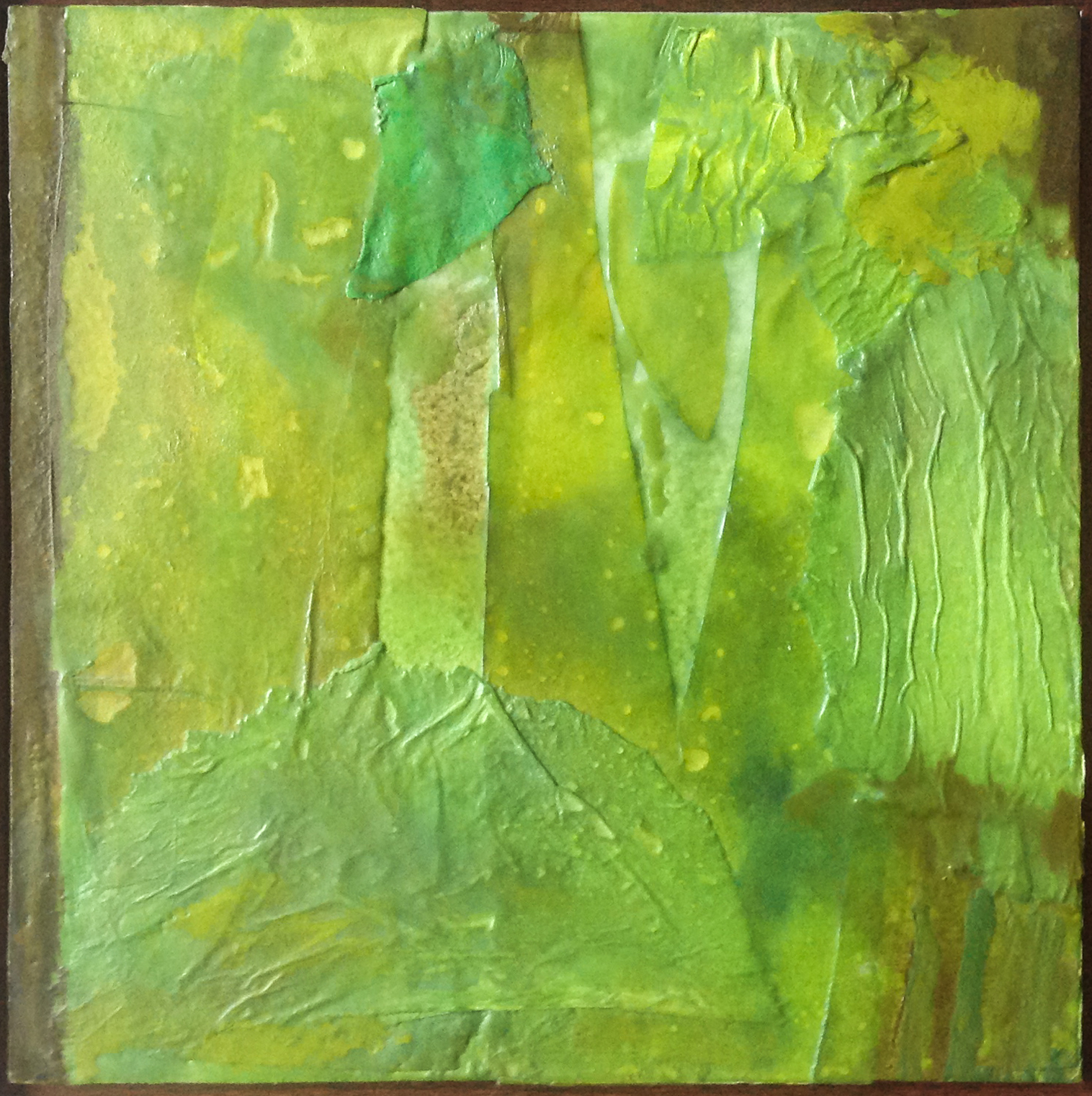 """Untitled Green - 2010 - Encaustic - 10"""" x 10"""" - Collection of Bill Reybold"""