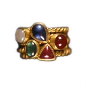 22K Gold, Pearl, Sapphire, Ruby, Emerald, & Pink Tourmaline Ring