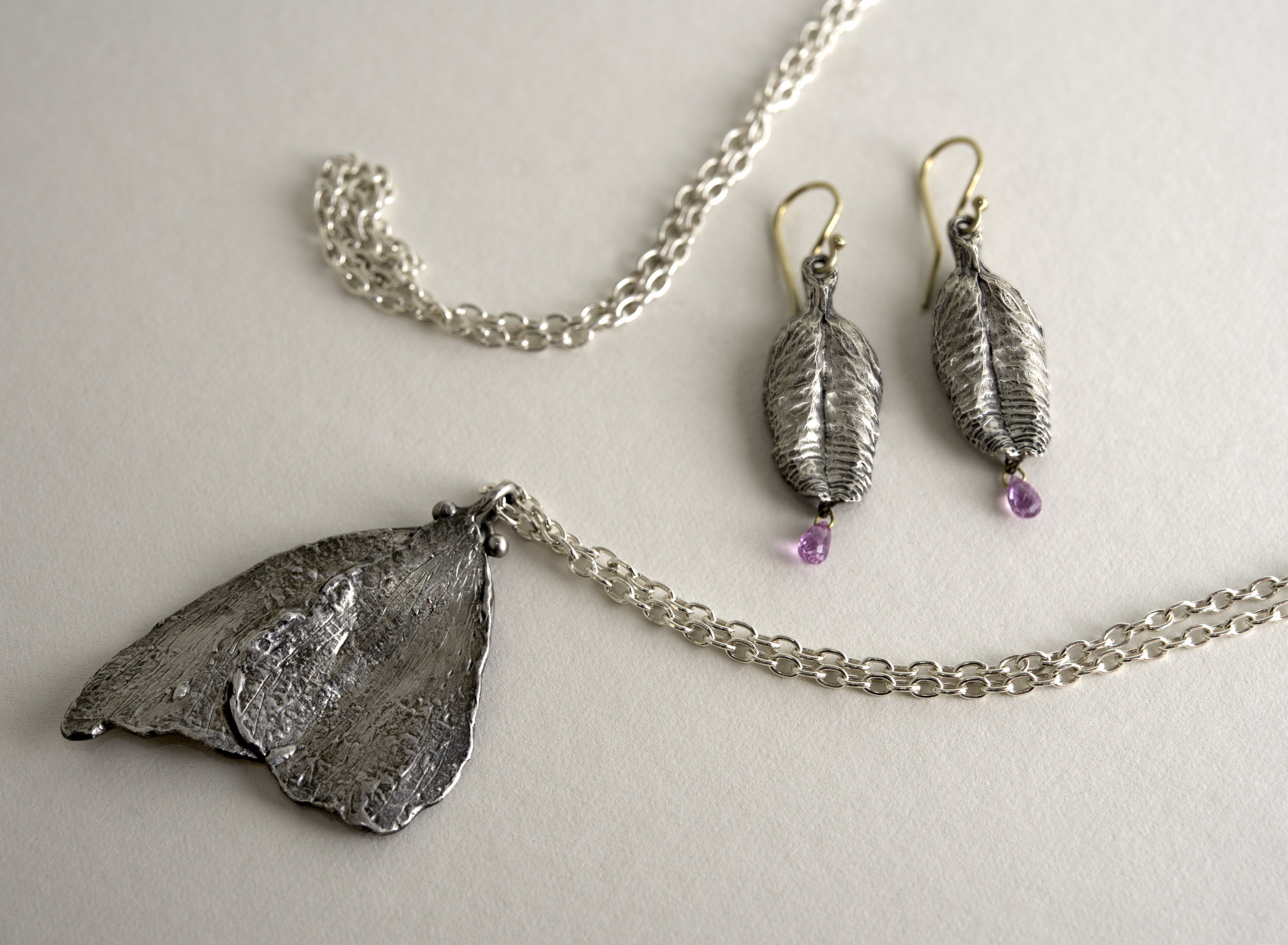 5.Sterling Silver: 14Kt  Butterfly Pendant, and Leaf Earrings with Pink Sapphires jpg.jpg