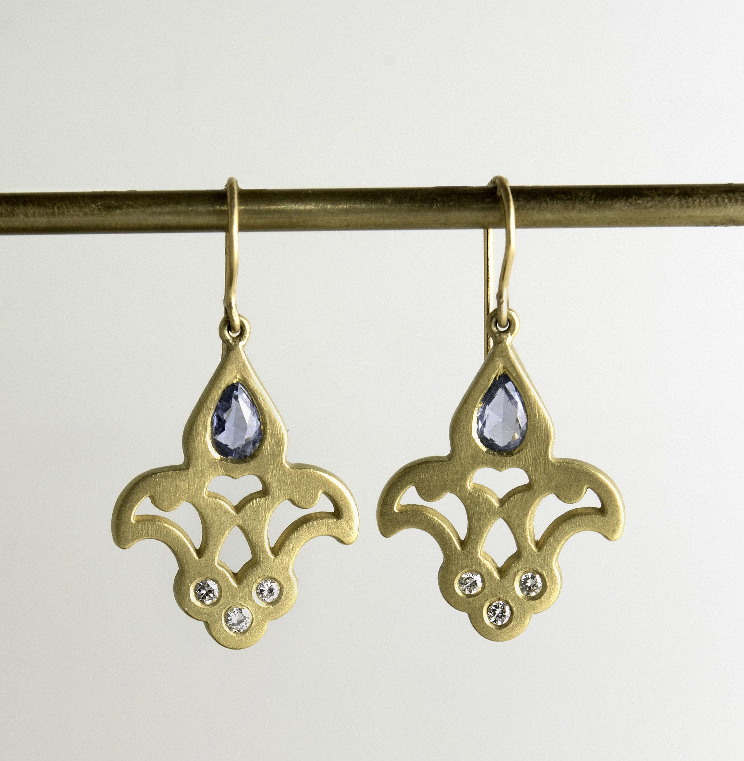 20Kt Fleur De Lis Sapphire and Diamond Drop Earrings