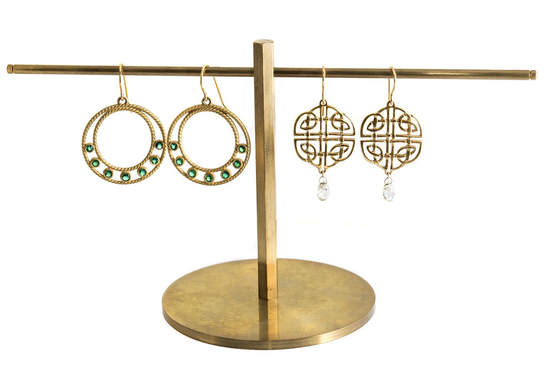 20Kt Braided Round Emerald Drop Earrings, and 20Kt Open Wire Diamond Briolette Drop Earrings