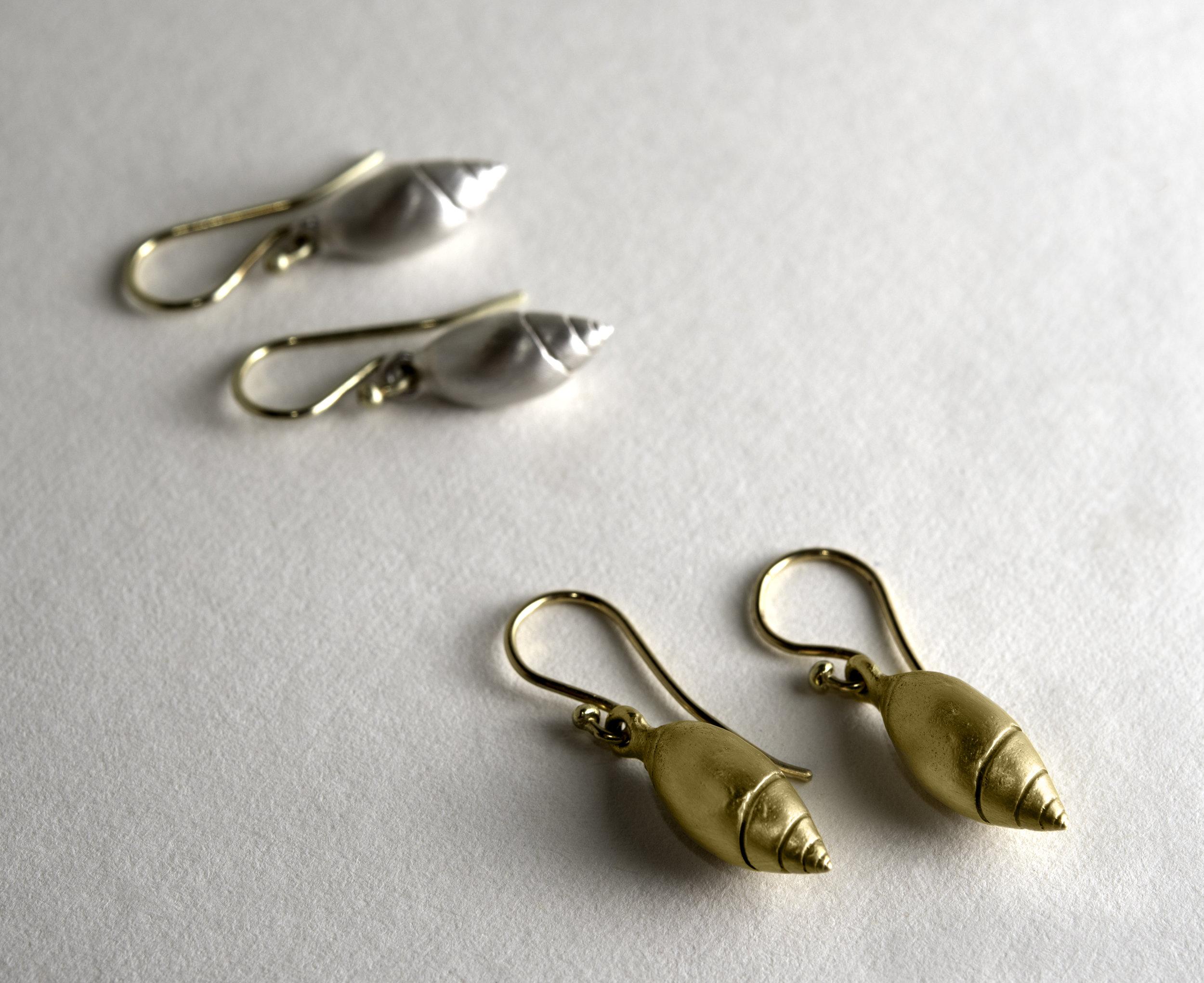 20Kt /14Kt Sterling Silver Shell Earrings