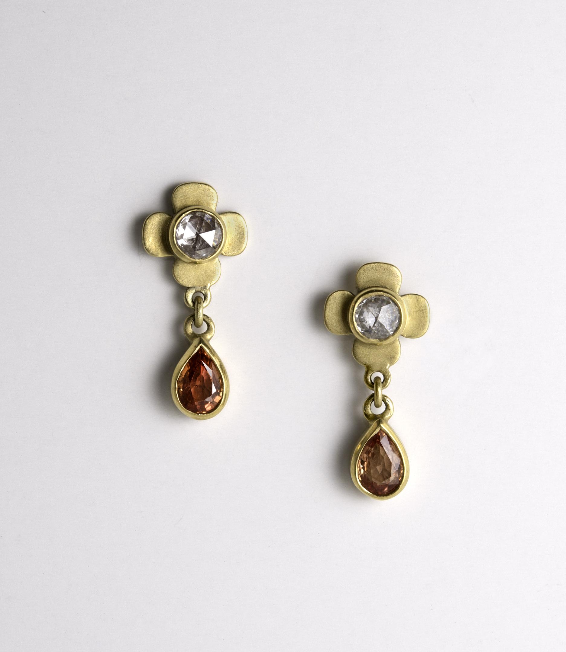 20Kt Rose Cut Diamond, Peach Sapphire Drop Flower Earrings