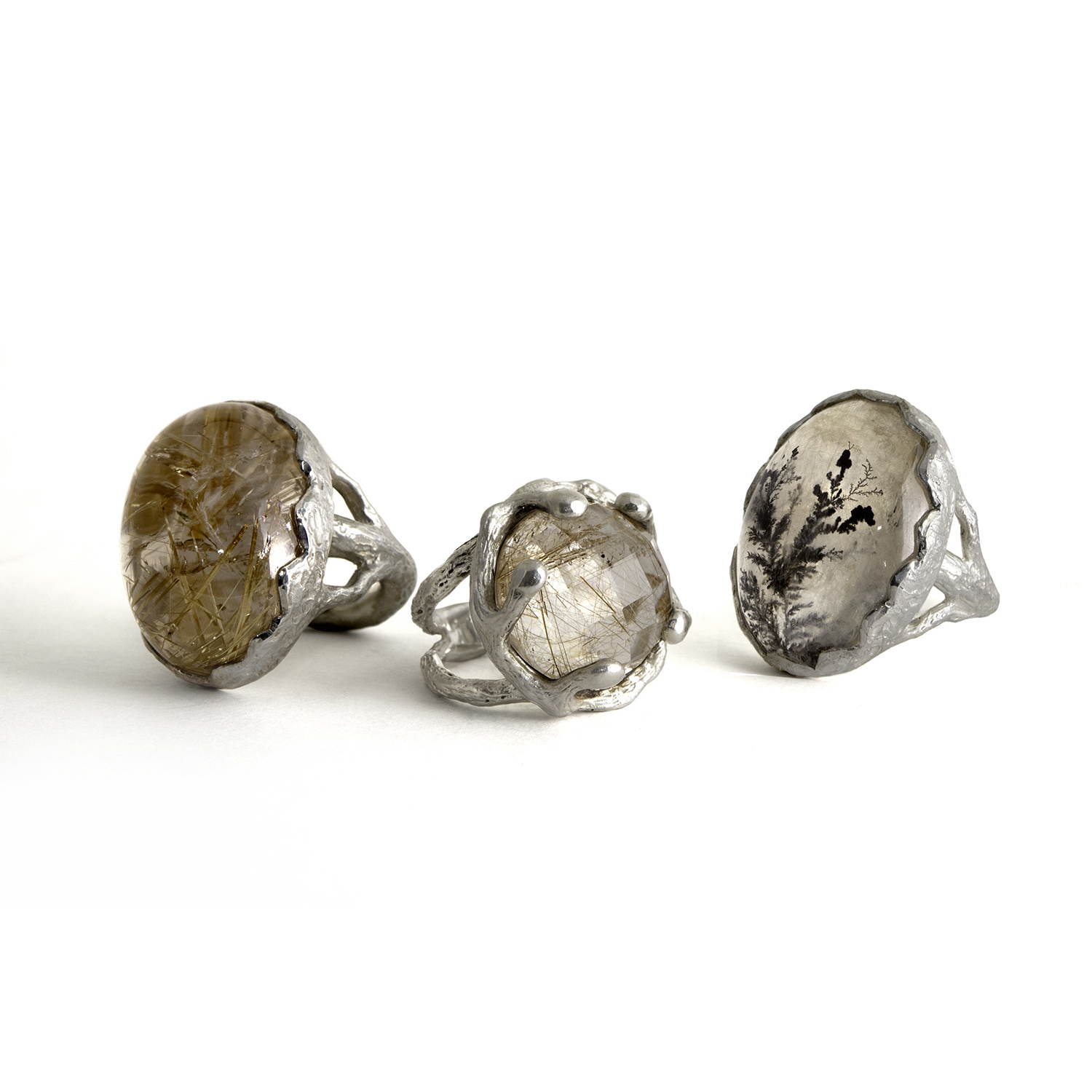 Sterling Silver Rudilated and Dendritic Quartz Rings
