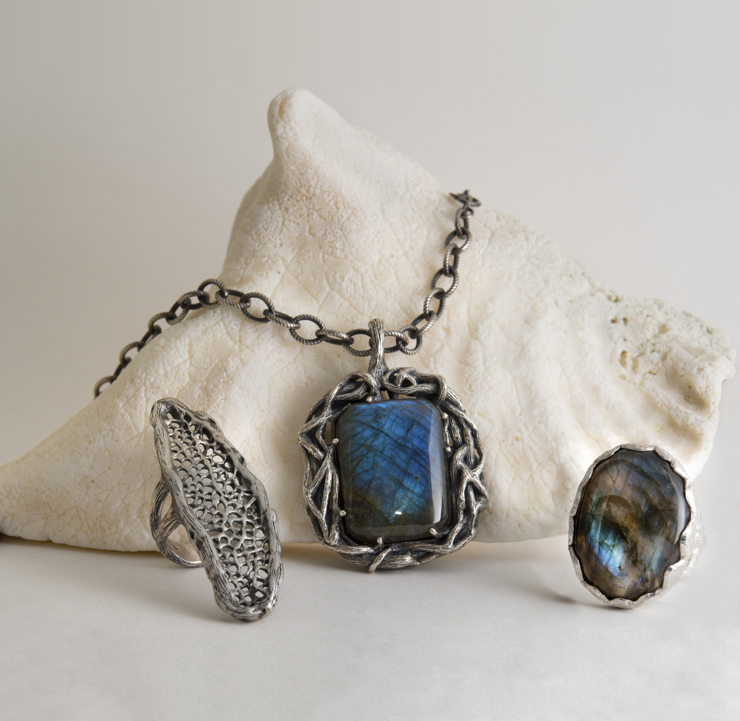Sterling Silver Coral Ring, Labradorite Branch Pendant Necklace, and Labradorite Ring