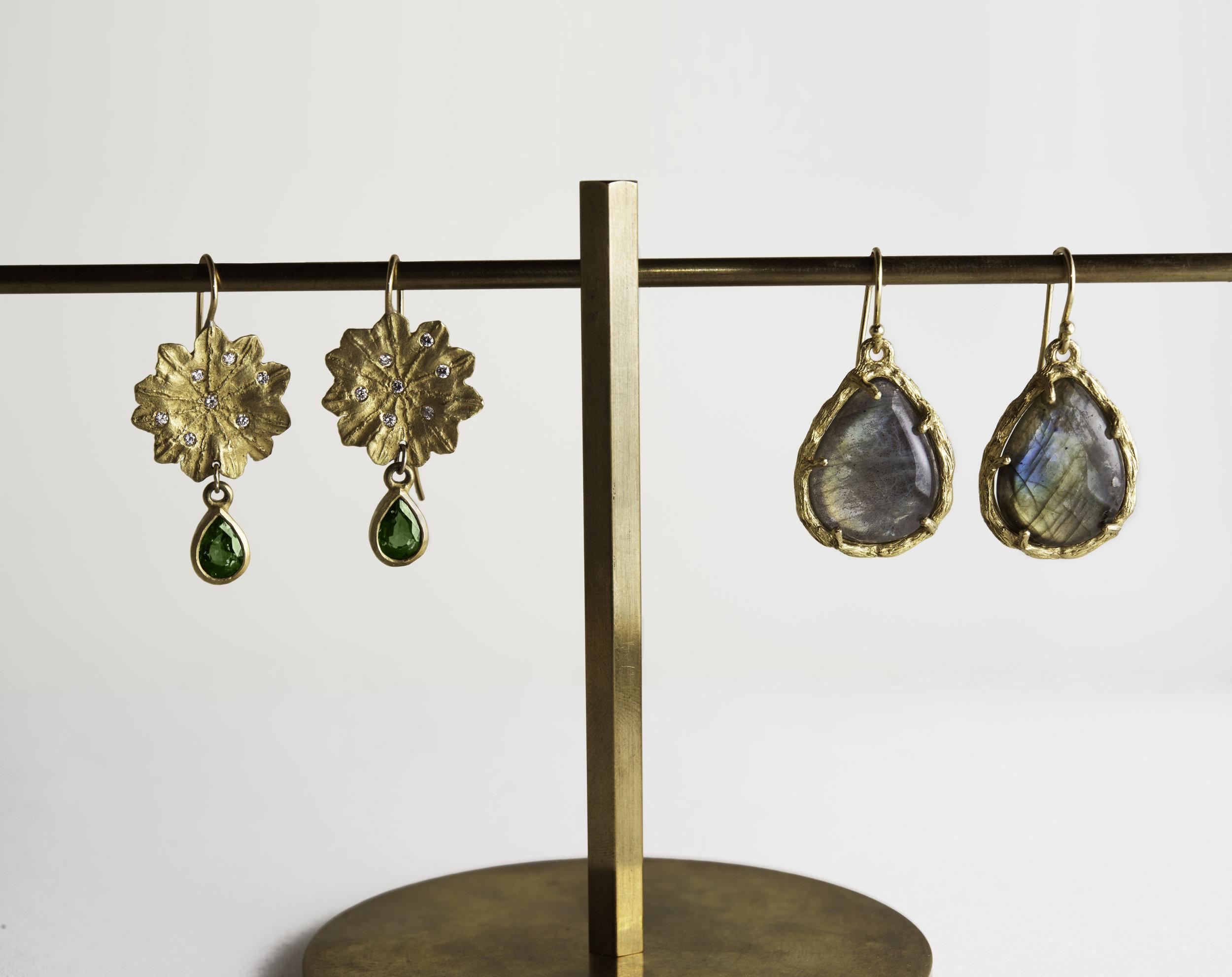20Kt Diamond Flower, Green Tourmaline Drop Earrings, 20K Branch Labradorite Drop Earrings