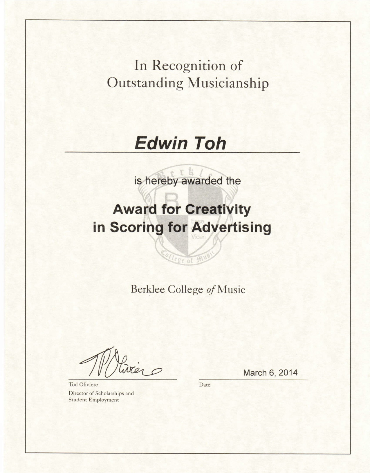 Award for Creativity in Scoring for Advertising