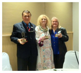 Elisabeth is awarded Psychic Ambassador 2013 for her work as past Vice President of Australian Psychic Association & is seen here with 2 other award winners Victor & Wendy Zammit at the presentation in Sydney.