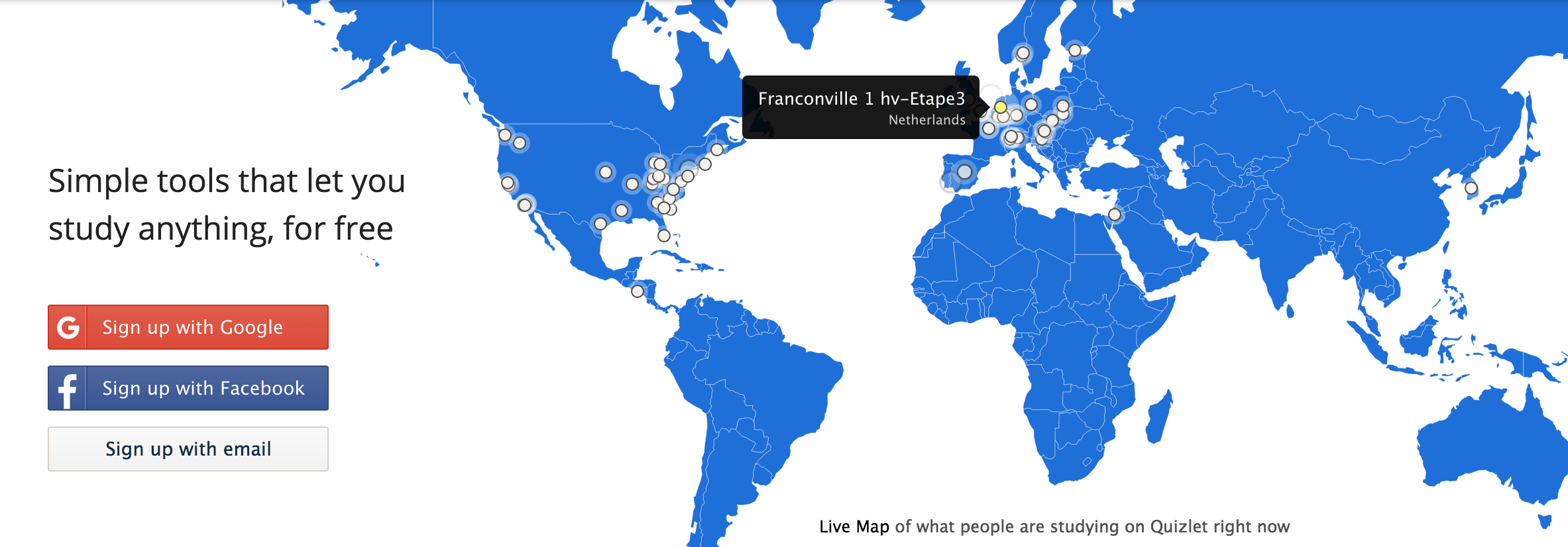 Inspiration for the map UI was taken from Quizlet's homepage!