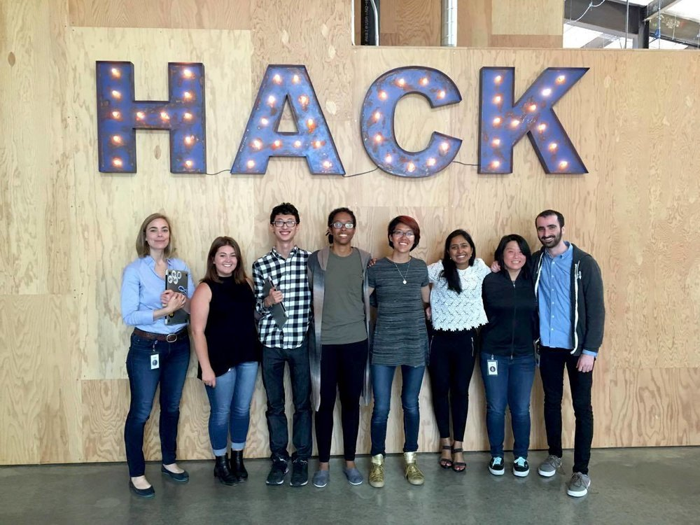 Our team (from left to right): Vanessa Callison-Burch (Product Manager, Consultant), Lea Cody (Product Design Intern), James Wu (Engineer), Zola Bridges (Engineering Intern), Tiffany Jiang (Product Design Intern), Nivedita Chopra (Engineer), Chirs Lee (Engineer), Jordan Brown (Engineering Intern)