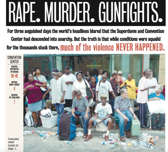 Newspaper article highlights how reports about Katrina's victims were exaggerated.