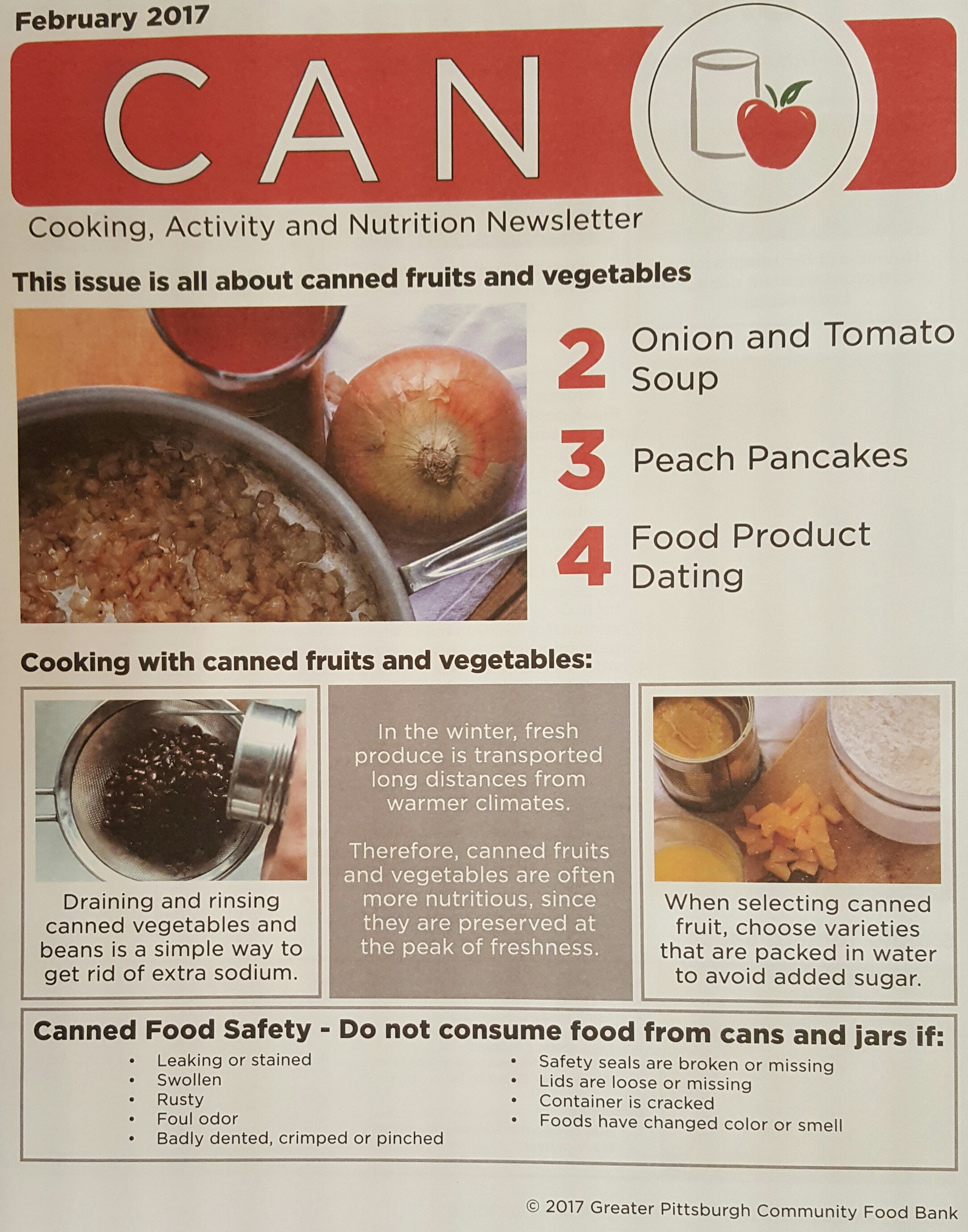 """Photo of the """"Nutrition Newsletter"""" passed out at the local food bank."""