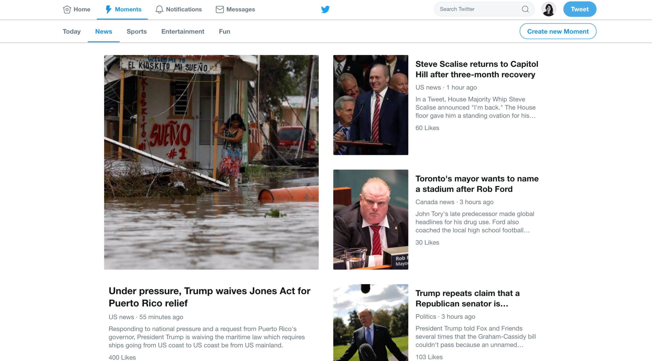 Front page of Twitter Moments.