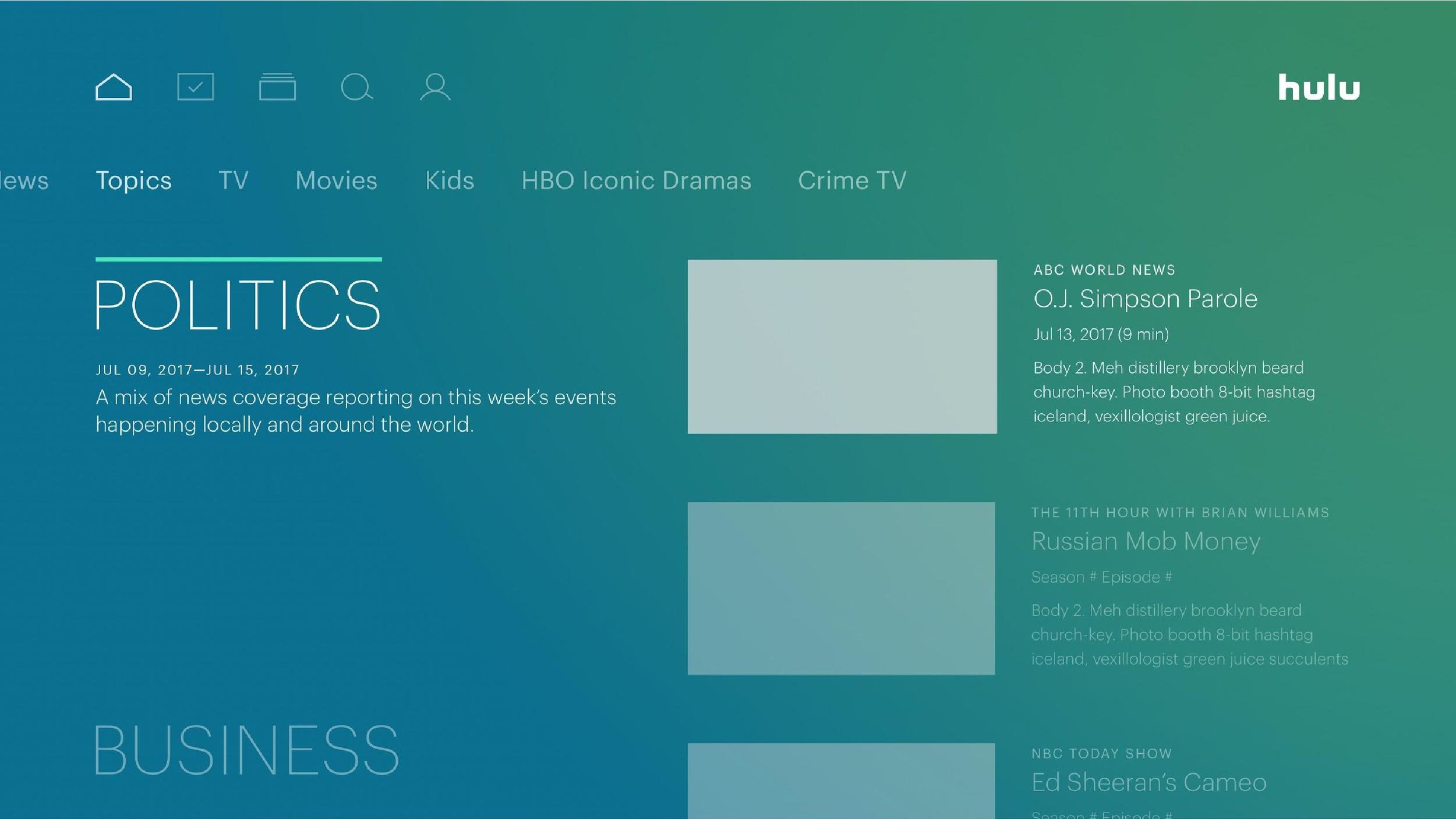 Hulu UX: Top Stories — tiffany jiang