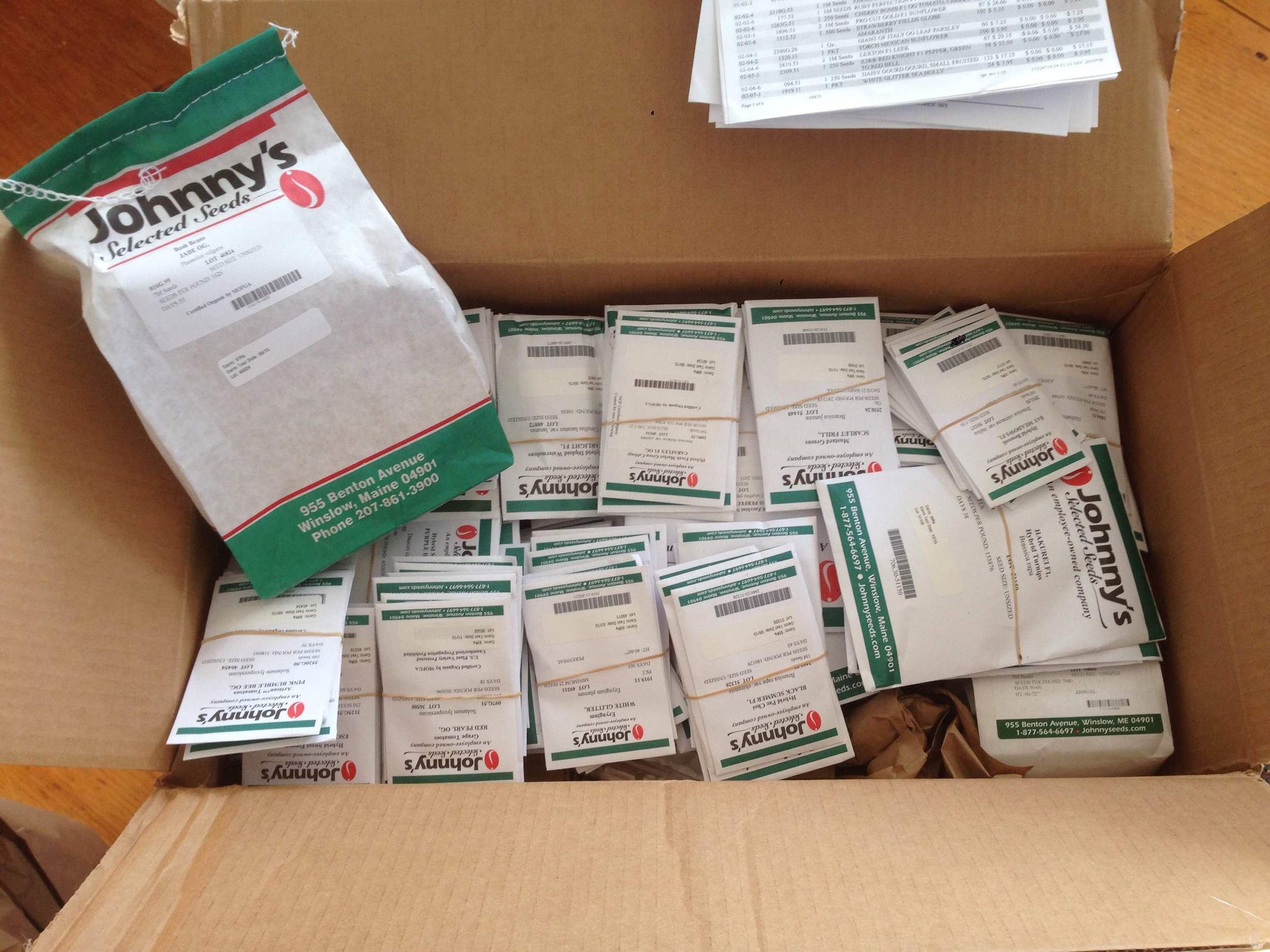 We order seeds from a number of companies. Our first seeds for 2016 arrived from Johnny's Selected Seeds in Maine!