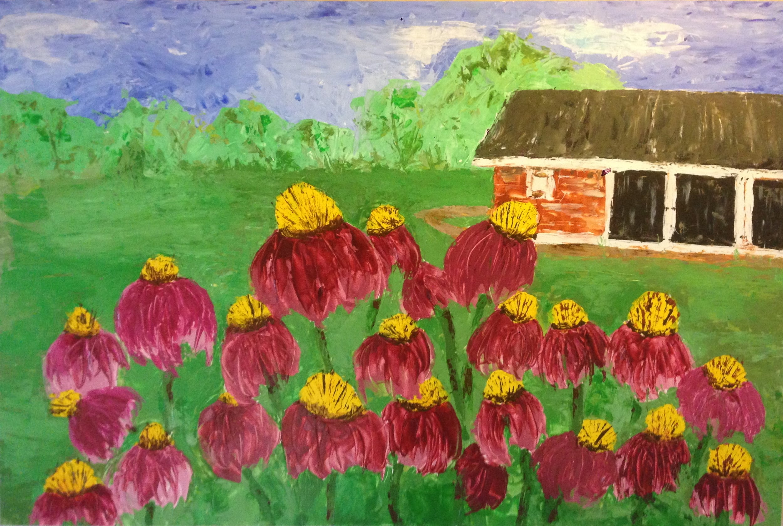 From Behind The Barn by Allene Riley Kussin. Summer 2015. Acrylic on canvas board.