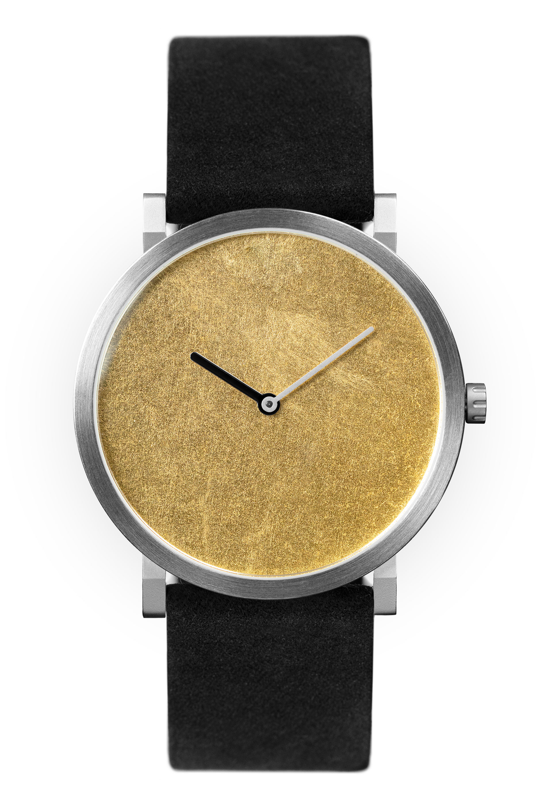 Yellow Gold leaf with black leather strap