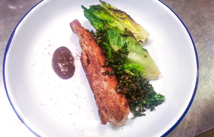 Slow-cooked, fried pork belly, smoked plum sauce, grilled lettuce
