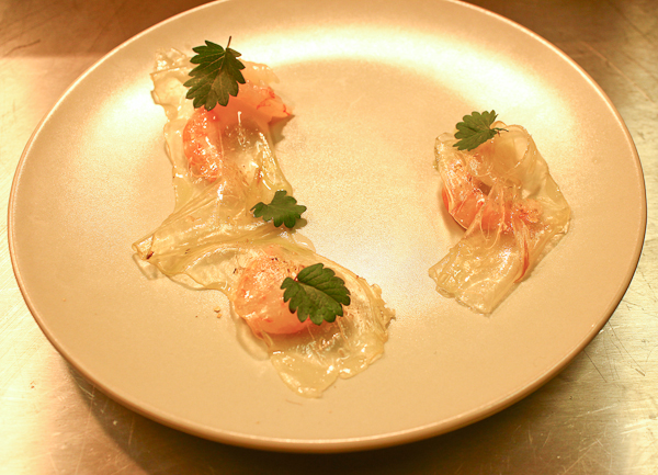 Raw prawns, lardo, salad burnet