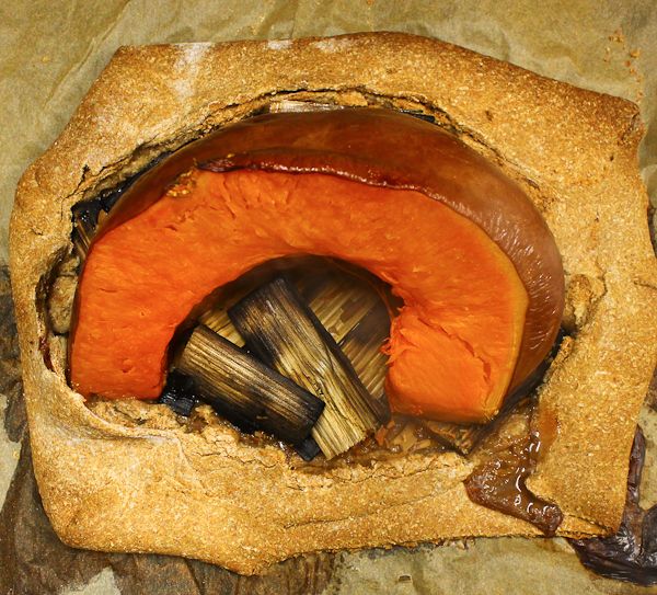 Pumpkin roasted in rye dough with juniper wood