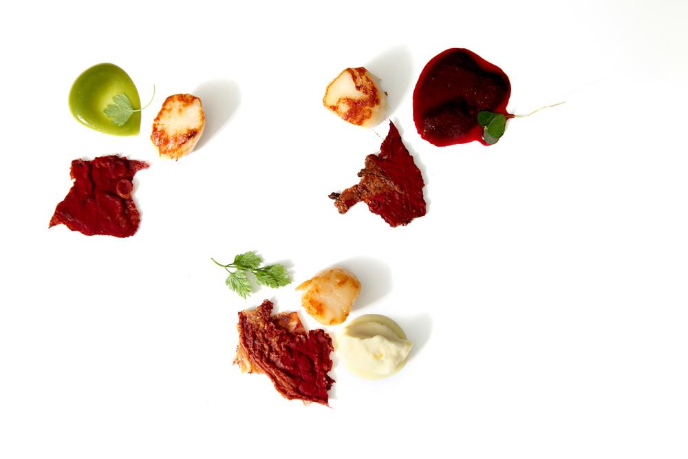 Scallops, chicken skin, damsons, elderberry
