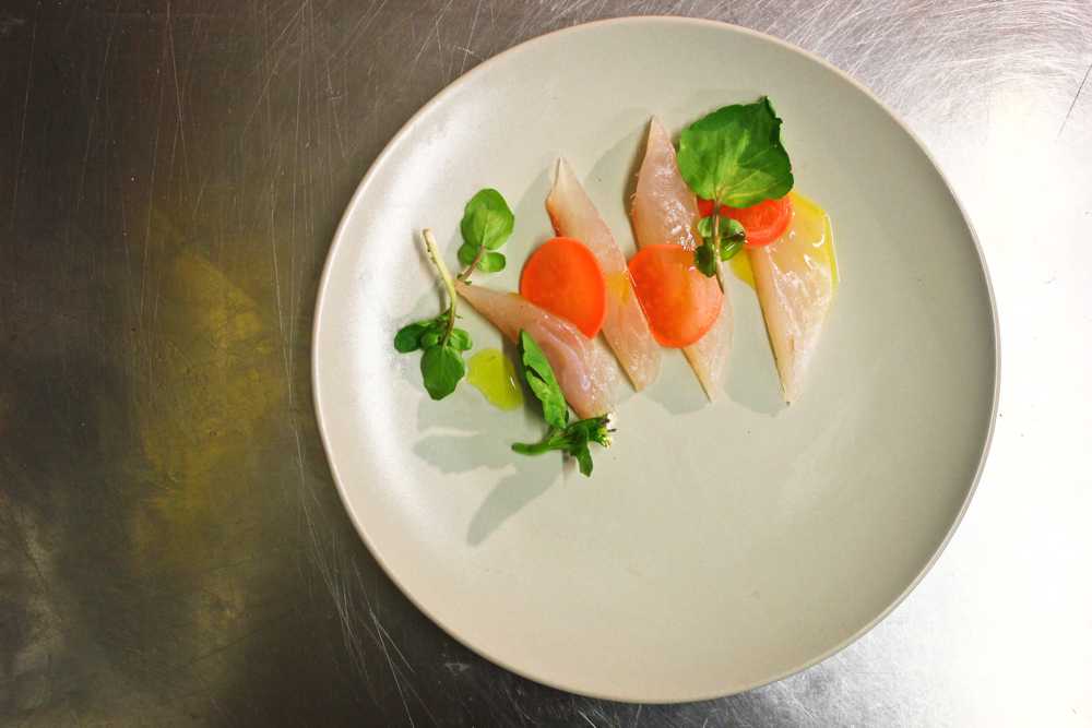 Cured bream, watercress, pickled radishes, walnut oil