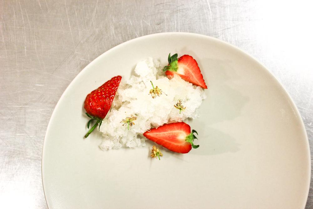 Whey granita, strawberries, lime blossom