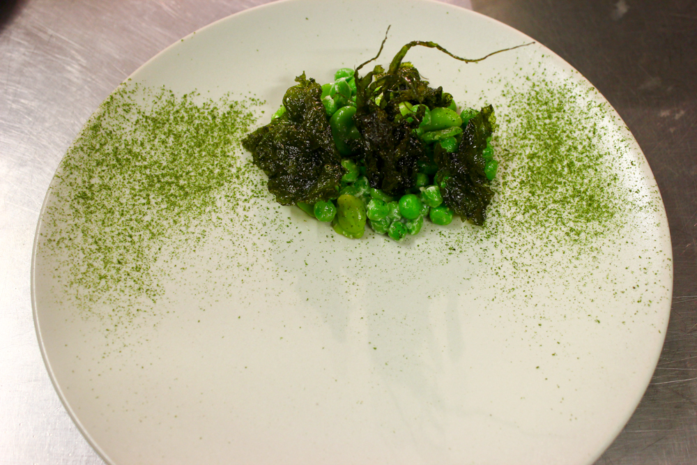 Broad beans, peas, buttermilk, fried and dried seaweeds
