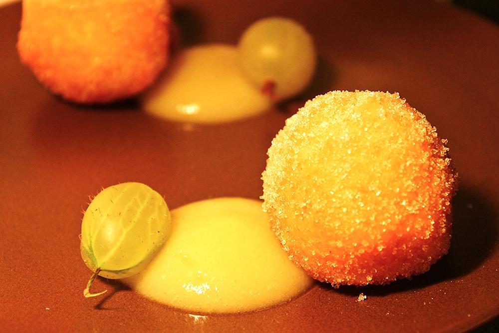 Brioche doughnuts, gooseberry sauce