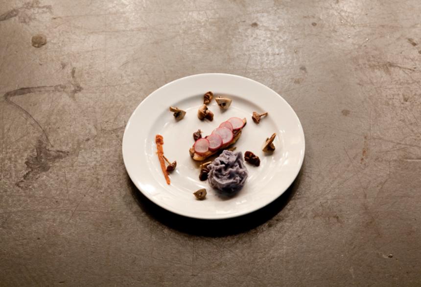 Pork belly, mushrooms, blue potatoes, radishes,London 2010