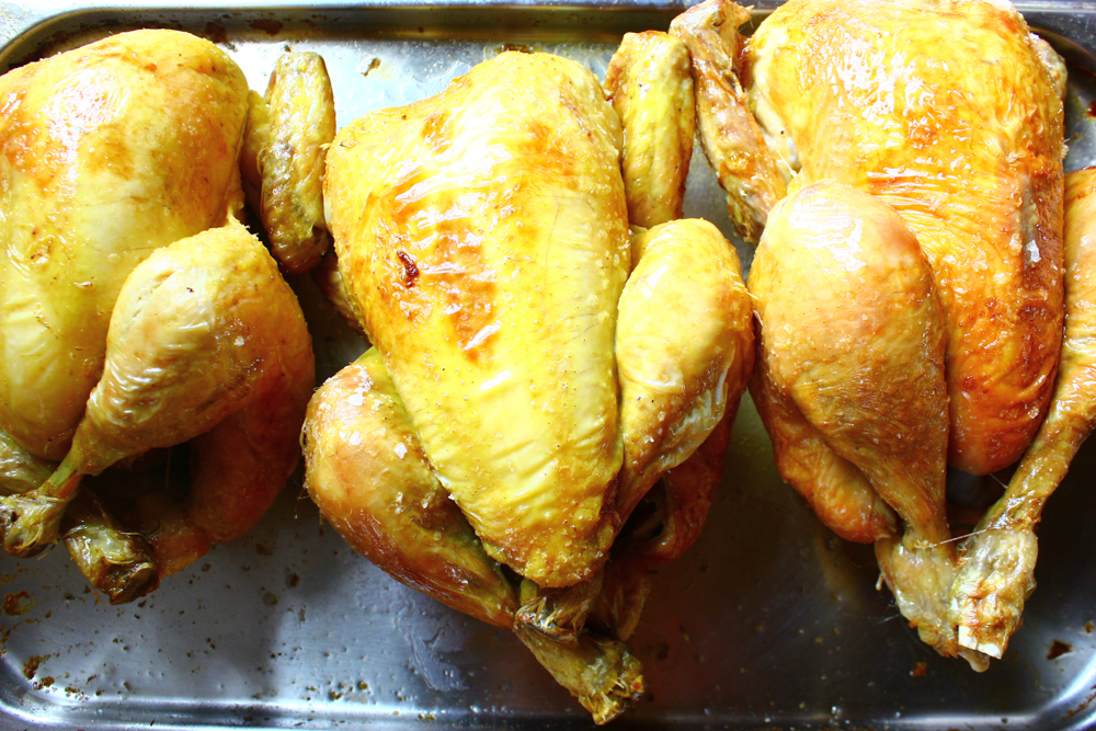 Roast chickens for lunch, London 2013 (pic by B&S)