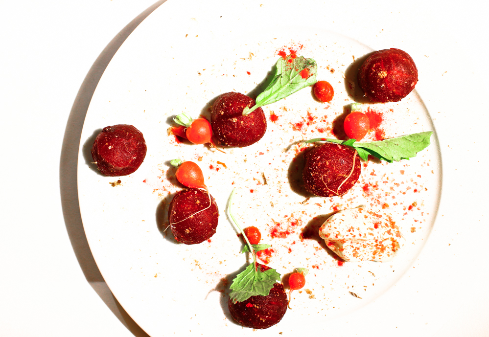 Hay-baked beetroots, rosehip pudding, radishes, cultured cream, spiced beef jerky, London 2013 (pic by B&S)