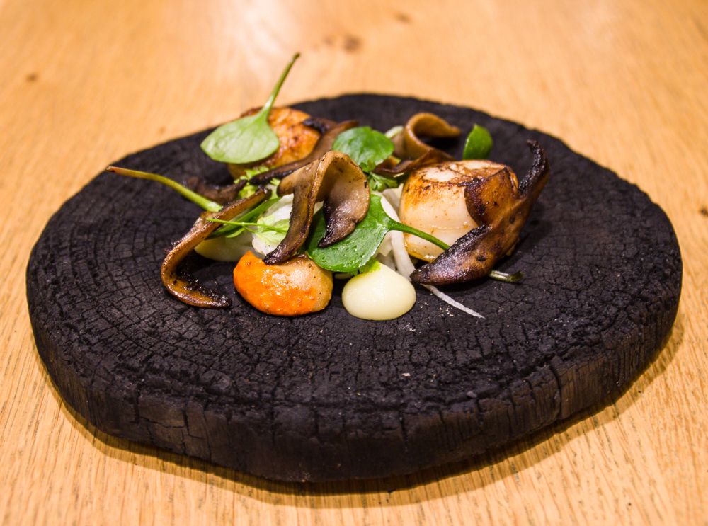 Scallop, mushrooms, apples and wild greens on a charcoal plate