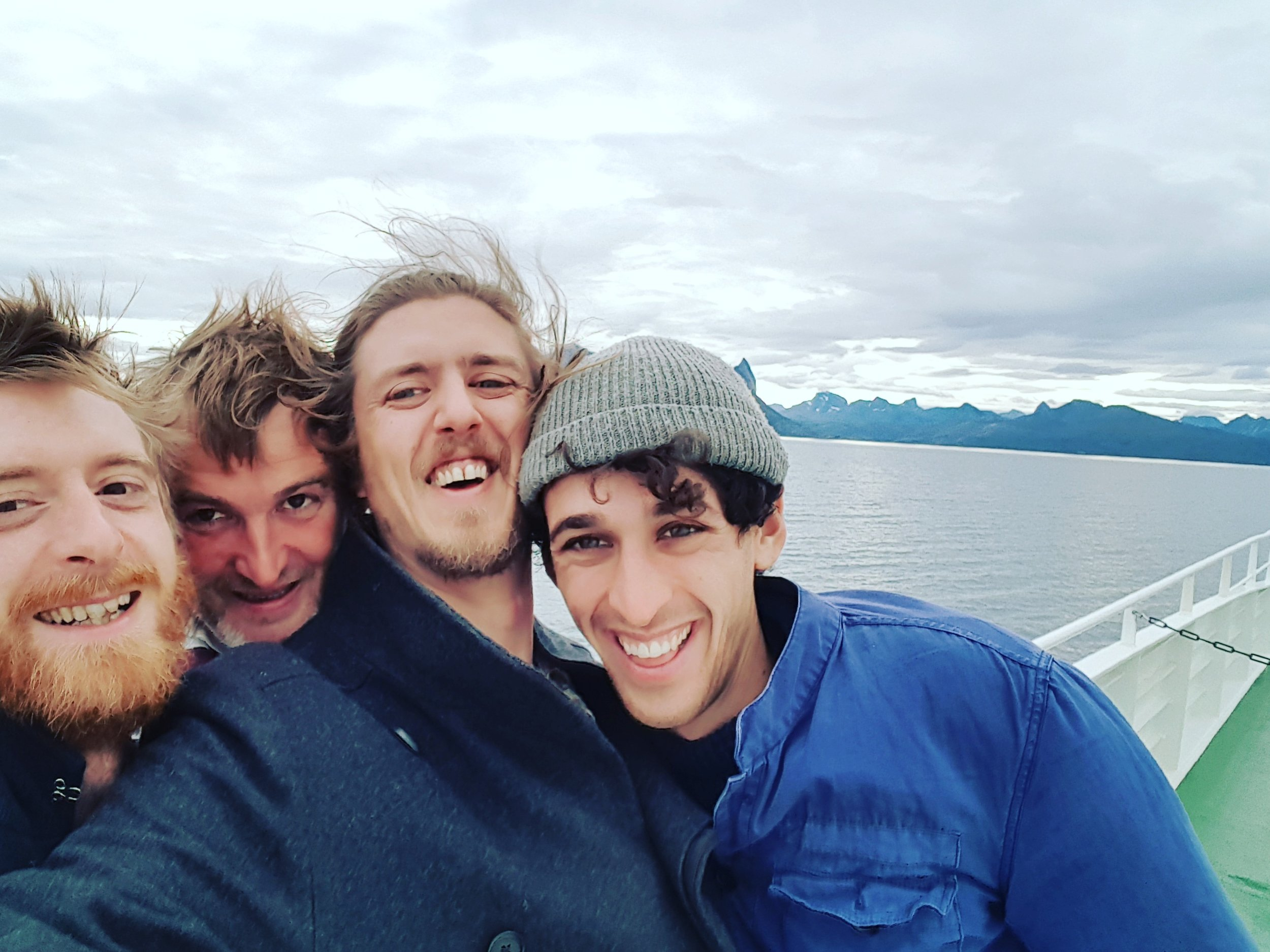 Mike, Roddie Sloan, Josh and Josh Evans On the ferry to ArktiskMat, Norway, September