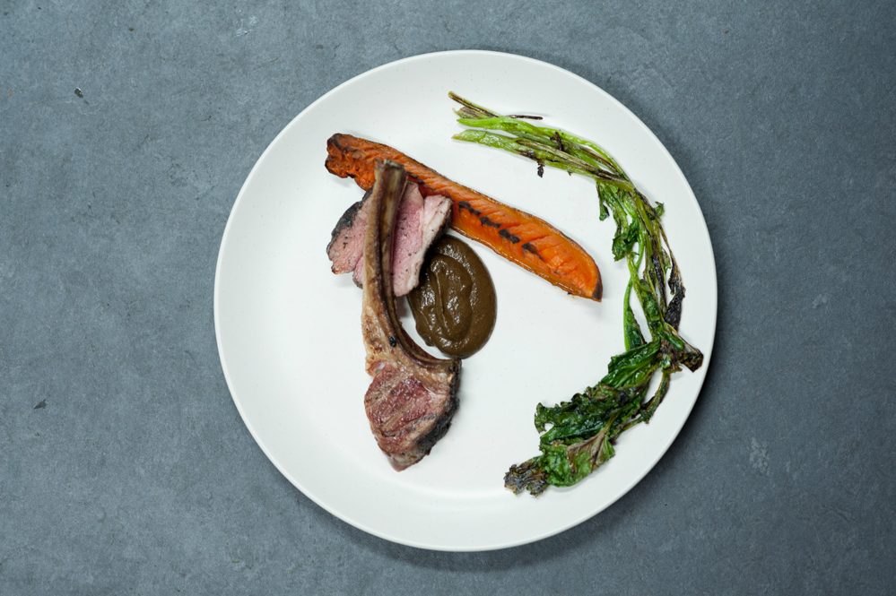 Barbecued hogget chops and rump, sweet potato hasseback, turnip tops, 'mole'