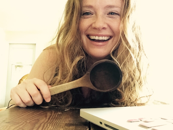 Me and my Maple wooden spoon.  Always cook with wooden spoons, you guys - it's important.  They hang onto your positive energy and transmit it into everything they touch.