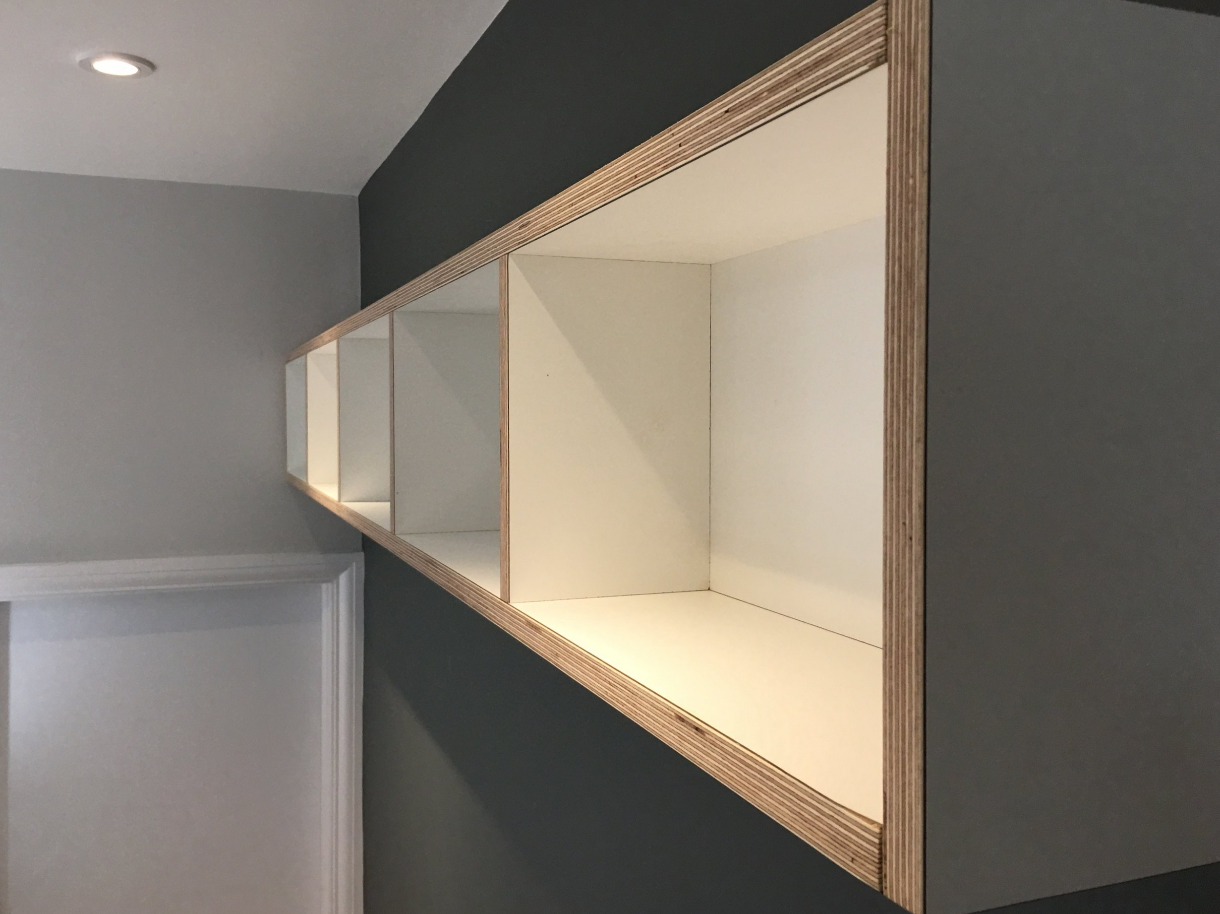 Birch plywood display shelf