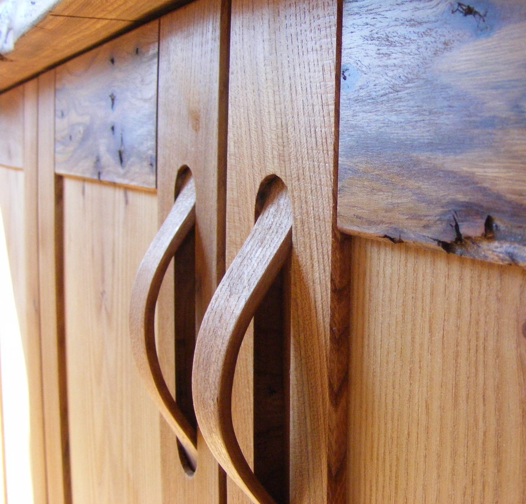 Home office made in English Elm  - An exquisite home office for the discerning wood buff.